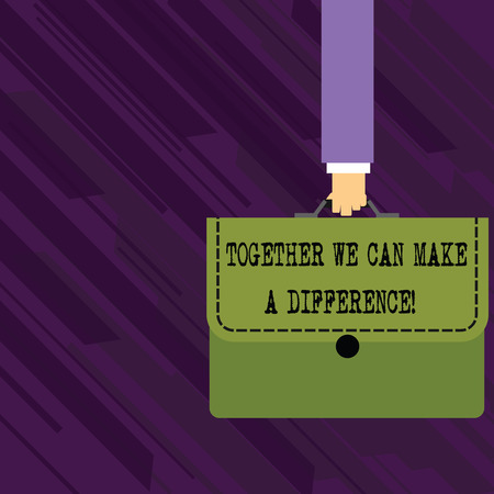 Conceptual hand writing showing Together We Can Make A Difference. Concept meaning be very important some way in like team or group Businessman Carrying Colorful Briefcase Portfolio Applique Imagens