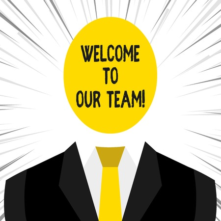 Writing note showing Welcome To Our Team. Business concept for introducing another demonstrating to your team mates Banco de Imagens