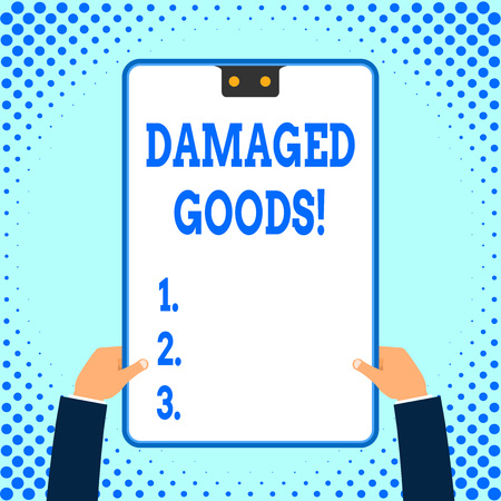 Text sign showing Damaged Goods. Business photo text Products or commodities that are broken, cracked or scratched Stock Photo