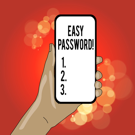 Writing note showing Easy Password. Business concept for Easy code that enables one to gain admission to program Banco de Imagens
