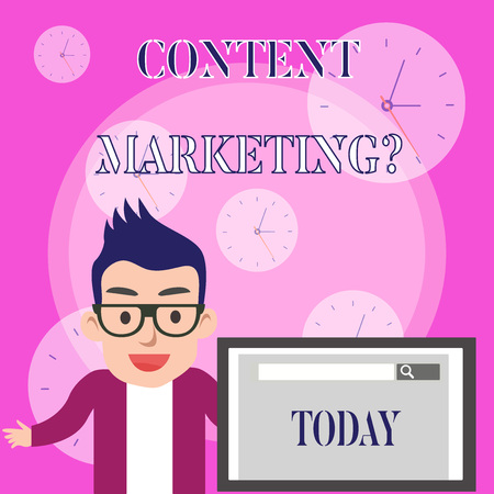 Conceptual hand writing showing Content Marketing Question. Concept meaning involves creation and sharing of online material