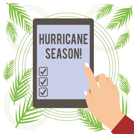 Text sign showing Hurricane Season. Business photo text time when most tropical cyclones are expected to develop Stock Photo