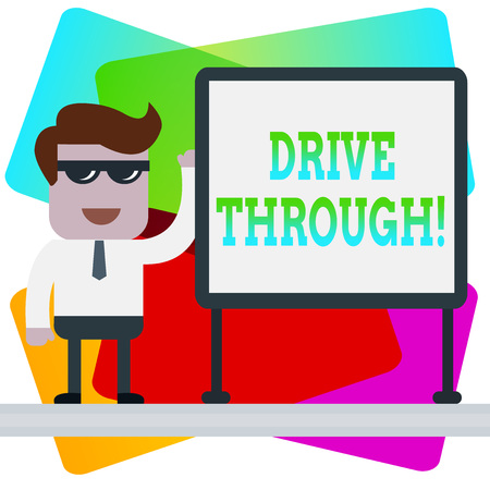 Word writing text Drive Through. Business photo showcasing place where you can get type of service by driving through it
