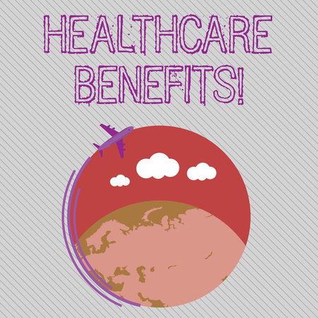 Text sign showing Healthcare Benefits. Business photo showcasing monthly fair market valueprovided to Employee dependents Airplane with Moving Icon Flying Around Colorful Globe and Blank Text Space Stok Fotoğraf