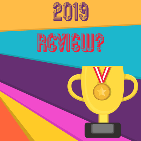 Handwriting text writing 2019 Review Question. Conceptual photo remembering past year events main actions or good shows Reklamní fotografie