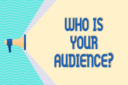 Conceptual hand writing showing Who Is Your Audience Question. Concept meaning who is watching or listening to it Megaphone Extending the Volume Range through Space Wide Beam