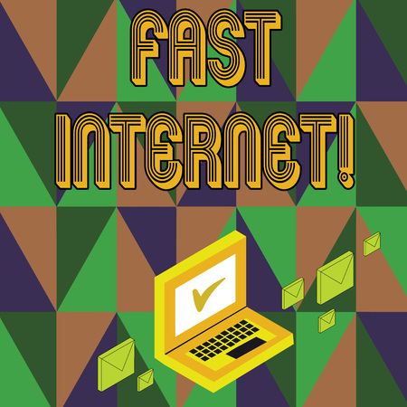 Writing note showing Fast Internet. Business concept for term used for Internet service that is faster than the average Mail Envelopes around Laptop with Check Mark icon on Monitor