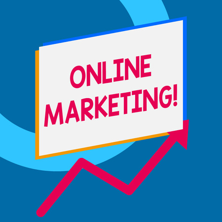 Writing note showing Online Marketing. Business concept for leveraging web based channels spread about companys brand Imagens