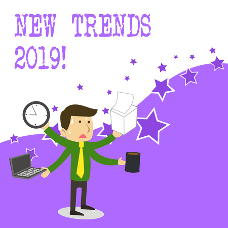 Text sign showing New Trends 2019. Business photo text general direction in which something is developing Stock Photo