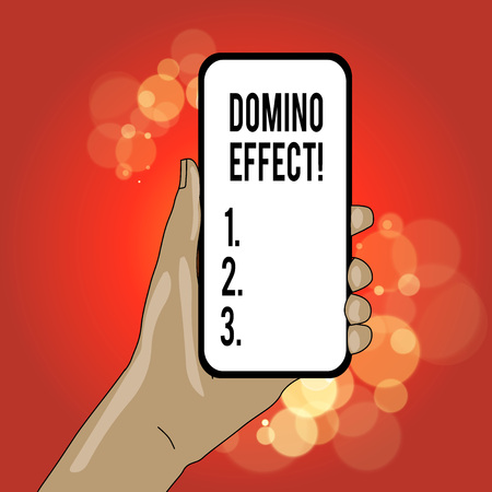Writing note showing Domino Effect. Business concept for Chain reaction that causing other similar events to happen Imagens