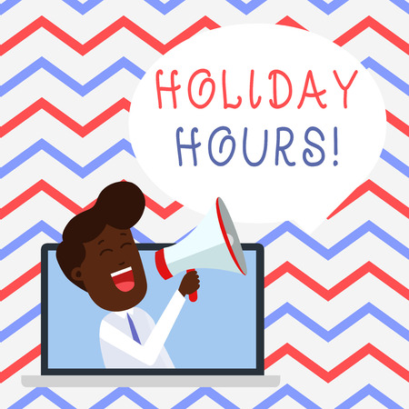 Handwriting text Holiday Hours. Conceptual photo Overtime work on for employees under flexible work schedules