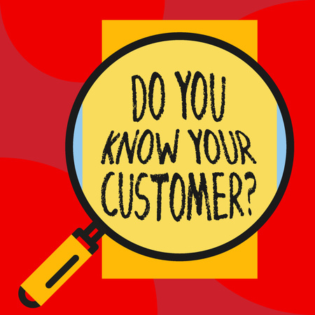 Writing note showing Do You Know Your Customer Question. Business concept for service identify clients with relevant information Imagens