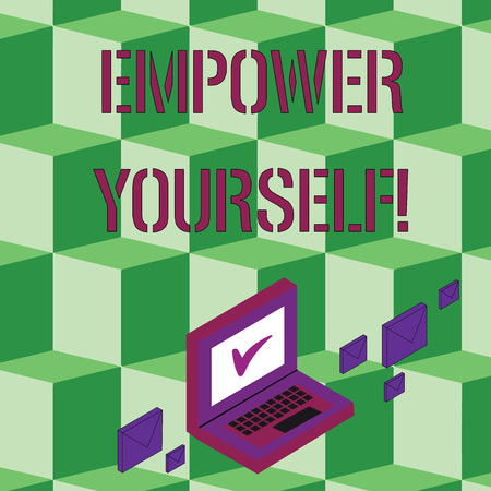 Text sign showing Empower Yourself. Business photo text taking control of our life setting goals and making choices Color Mail Envelopes around Laptop with Check Mark icon on Monitor Screen