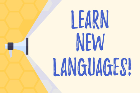Text sign showing Learn New Languages. Business photo text developing ability to communicate in foreign lang Megaphone Extending the Capacity of Volume Range thru Blank Space Wide Beam