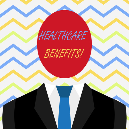 Word writing text Healthcare Benefits. Business photo showcasing monthly fair market valueprovided to Employee dependents Stock Photo