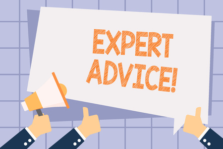 Writing note showing Expert Advice. Business concept for Opinion given by someone skilled at a particular job Hand Holding Megaphone and Gesturing Thumbs Up Text Balloon