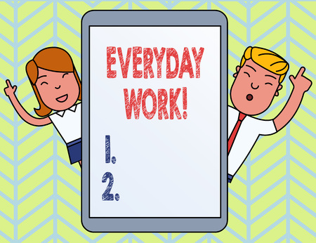 Word writing text Everyday Work. Business photo showcasing Refers to things or activities exist or happen every day Stok Fotoğraf