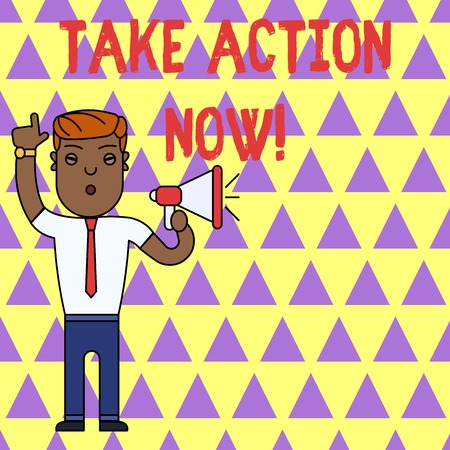 Writing note showing Take Action Now. Business concept for do something official or concerted achieve aim with problem Imagens