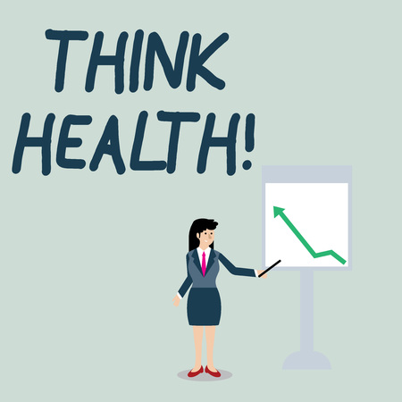 Conceptual hand writing showing Think Health. Concept meaning state of complete physical mental and social well being Woman Holding Stick Pointing to Chart of Arrow on Whiteboard