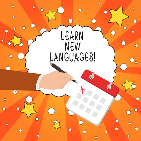 Writing note showing Learn New Languages. Business concept for developing ability to communicate in foreign lang