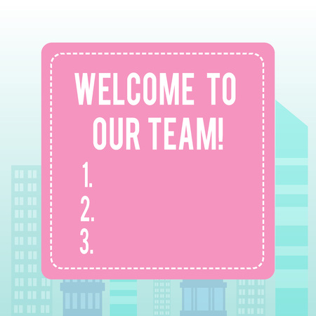 Writing note showing Welcome To Our Team. Business concept for introducing another demonstrating to your team mates Imagens