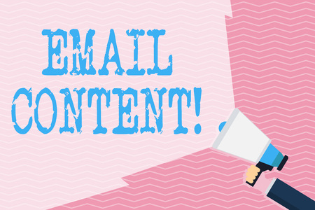 Writing note showing Email Content. Business concept for It is the essence of a communicated message or discourse Hand Holding Megaphone with Wide Beam Extending the Volume