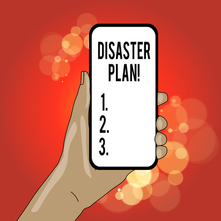 Writing note showing Disaster Plan. Business concept for outlines how an organization responds to an unplanned event Reklamní fotografie