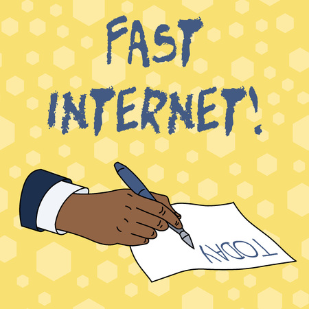 Writing note showing Fast Internet. Business concept for term used for Internet service that is faster than the average Stok Fotoğraf