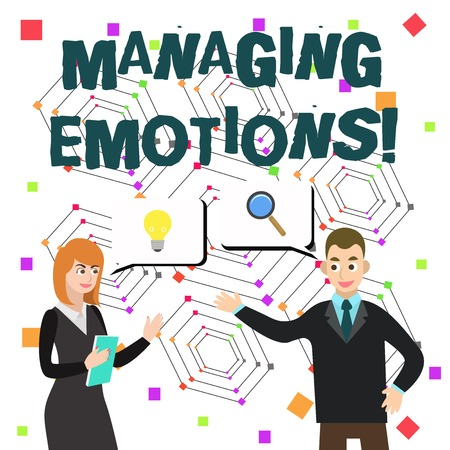Word writing text Managing Emotions. Business photo showcasing ability be open to feelings and modulate them in oneself 写真素材
