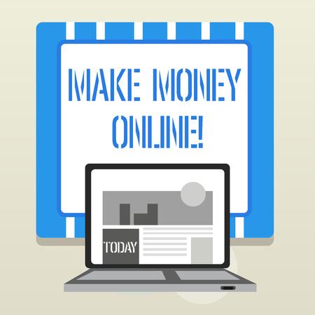 Word writing text Make Money Online. Business photo showcasing making profit using internet like freelancing or marketing 版權商用圖片