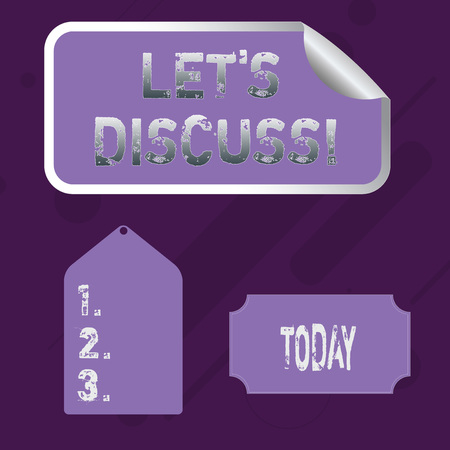 Word writing text Let S Discuss. Business photo showcasing asking someone to talk about something with demonstrating or showing Blank Color Label, Self Adhesive Sticker with Border, Bended Corner and Tag Imagens