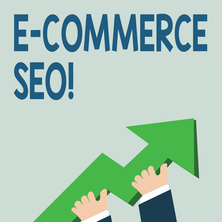 Word writing text E Commerce Seo. Business photo showcasing making your online store more visible in the search engine photo of Hand Holding Colorful Huge 3D Arrow Pointing and Going Up