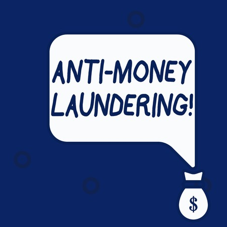 Writing note showing Anti Money Laundering. Business concept for regulations stop generating income through illegal actions Stock Photo