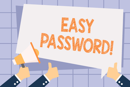Writing note showing Easy Password. Business concept for Easy code that enables one to gain admission to program Hand Holding Megaphone and Gesturing Thumbs Up Text Balloon