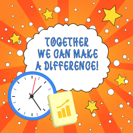 Text sign showing Together We Can Make A Difference. Business photo showcasing be very important some way in like team or group