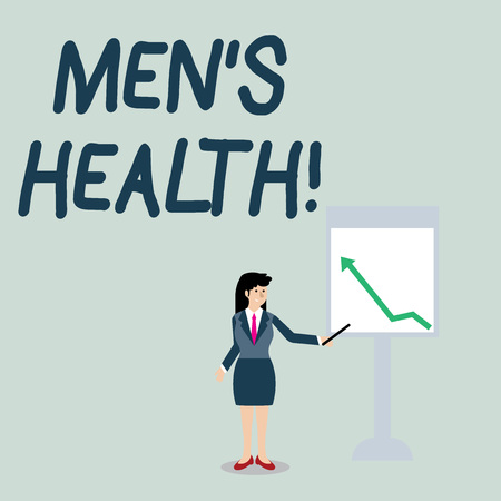 Conceptual hand writing showing Men S Health. Concept meaning state of complete physical mental and social well being by analysis Woman Holding Stick Pointing to Chart of Arrow on Whiteboard Фото со стока
