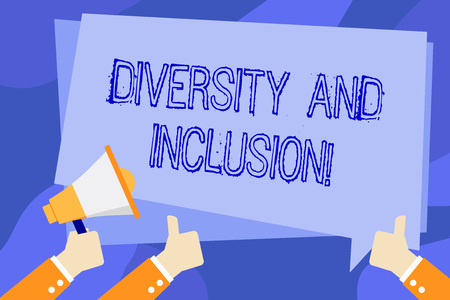 Writing note showing Diversity And Inclusion. Business concept for range huanalysis difference includes race ethnicity gender Hand Holding Megaphone and Gesturing Thumbs Up Text Balloon Archivio Fotografico