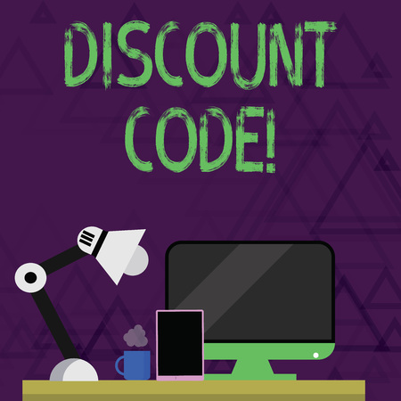 Writing note showing Discount Code. Business concept for Series of letters or numbers that allow you to get a discount Arrangement for Nightshift Worker Computer, Tablet and Lamp Stock fotó