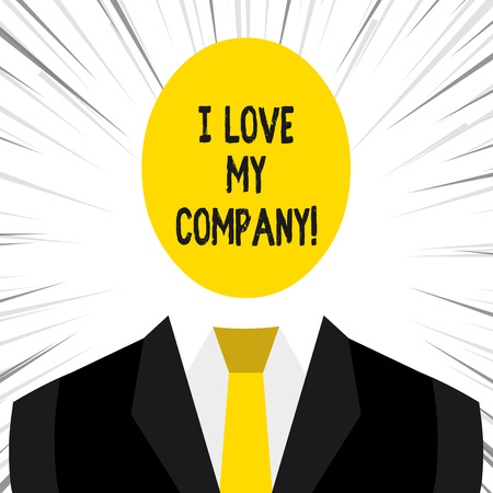 Writing note showing I Love My Company. Business concept for tell why admire their job and workplace Imagens