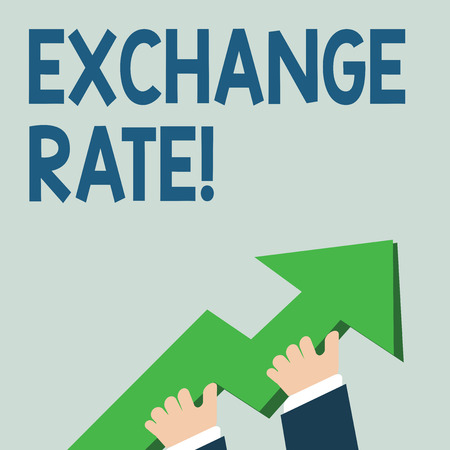 Word writing text Exchange Rate. Business photo showcasing value of one currency for the purpose of conversion to another photo of Hand Holding Colorful Huge 3D Arrow Pointing and Going Up