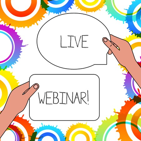 Word writing text Live Webinar. Business photo showcasing presentation lecture or seminar transmitted over Web Imagens