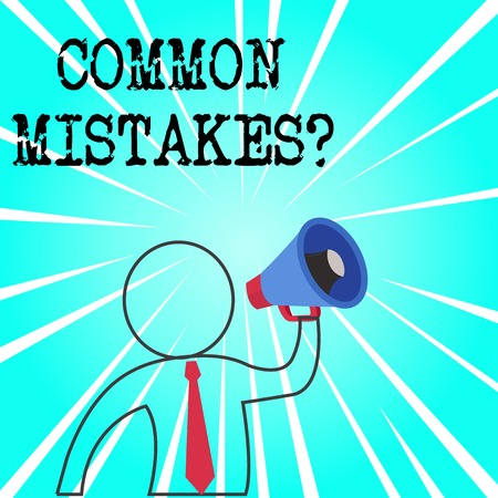 Word writing text Common Mistakes question. Business photo showcasing repeat act or judgement misguided or wrong