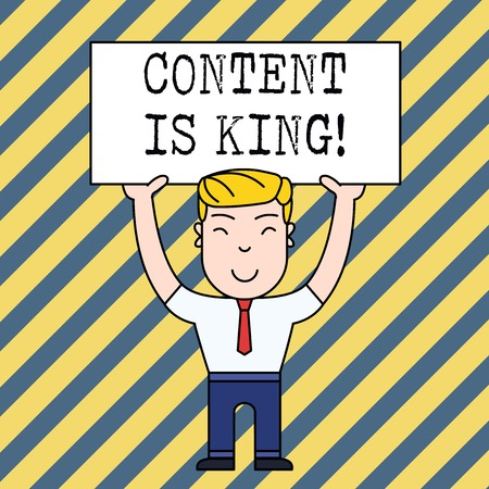 Text sign showing Content Is King. Business photo showcasing marketing focused growing visibility non paid search results