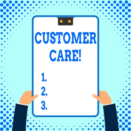 Text sign showing Customer Care. Business photo text process of looking after customers to ensure their pleasure