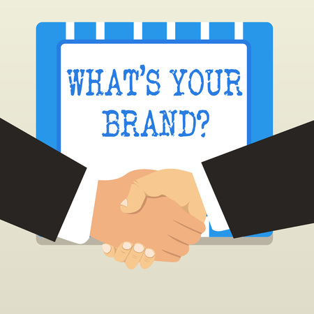 Word writing text What S Your Brand Question. Business photo showcasing asking about product logo does or what you communicate Imagens - 122902263