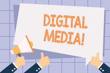 Writing note showing Digital Media. Business concept for digitized content that can be transmitted over the internet Hand Holding Megaphone and Gesturing Thumbs Up Text Balloon