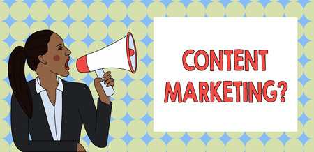 Writing note showing Content Marketing Question. Business concept for involves creation and sharing of online material