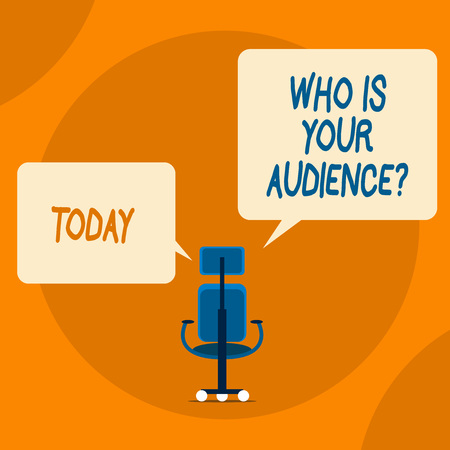 Writing note showing Who Is Your Audience Question. Business concept for who is watching or listening to it Stok Fotoğraf