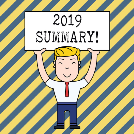 Text sign showing 2019 Summary. Business photo showcasing summarizing past year events main actions or good shows