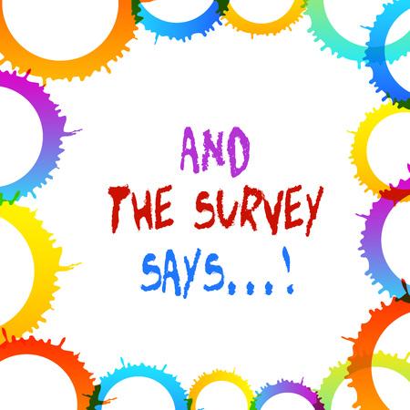 Parola di scrittura di testo e dice il sondaggio. Foto aziendale che mostra i risultati scritti parlati di brevi quiz o esami su internet Archivio Fotografico